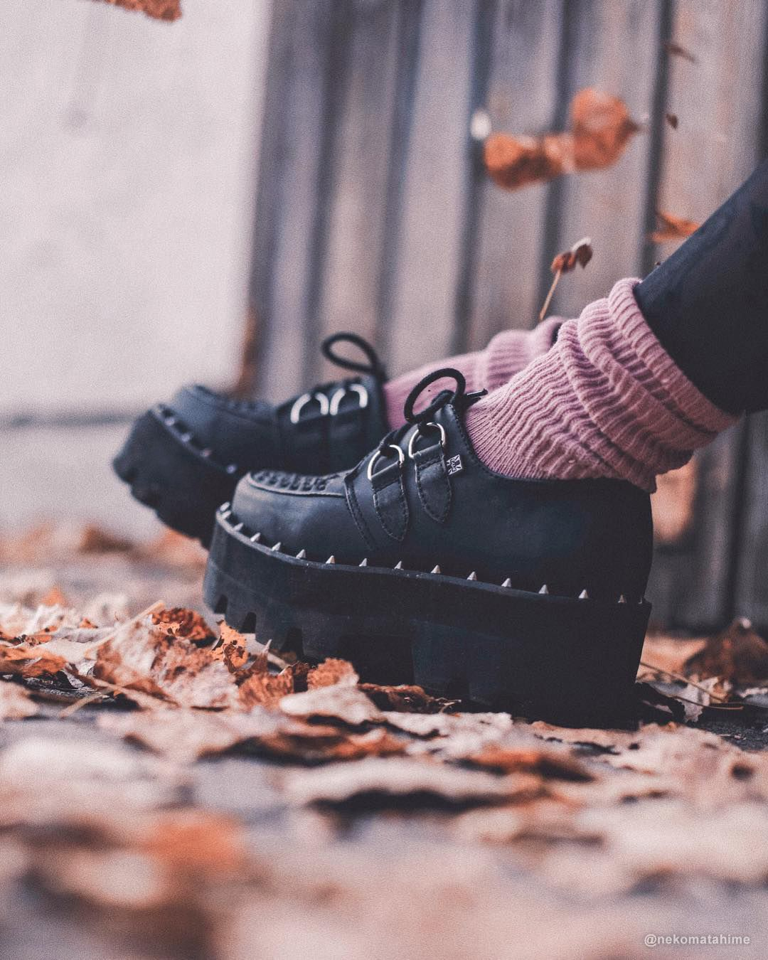 843e2079acb5 Black Faux Leather Dino Lug Sole Creeper