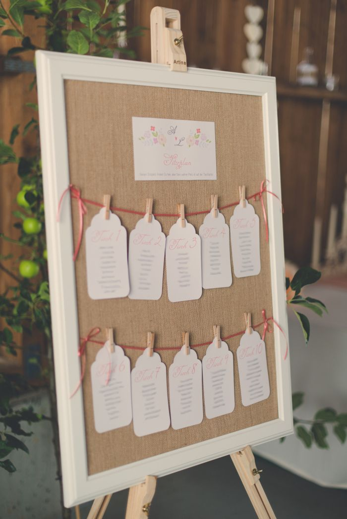 Sitzplan im V  Alles fr die Hochzeit  Gstebuch Fingerabdruck Braum Vintage Holz