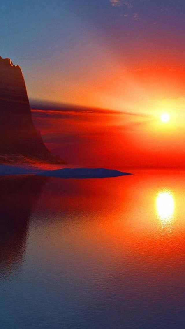 Nature Golden Sunrise Over Horizon Beside Mountains Iphone 5s Wallpaper Iphone 5s Wallpaper Sunrise Wallpaper