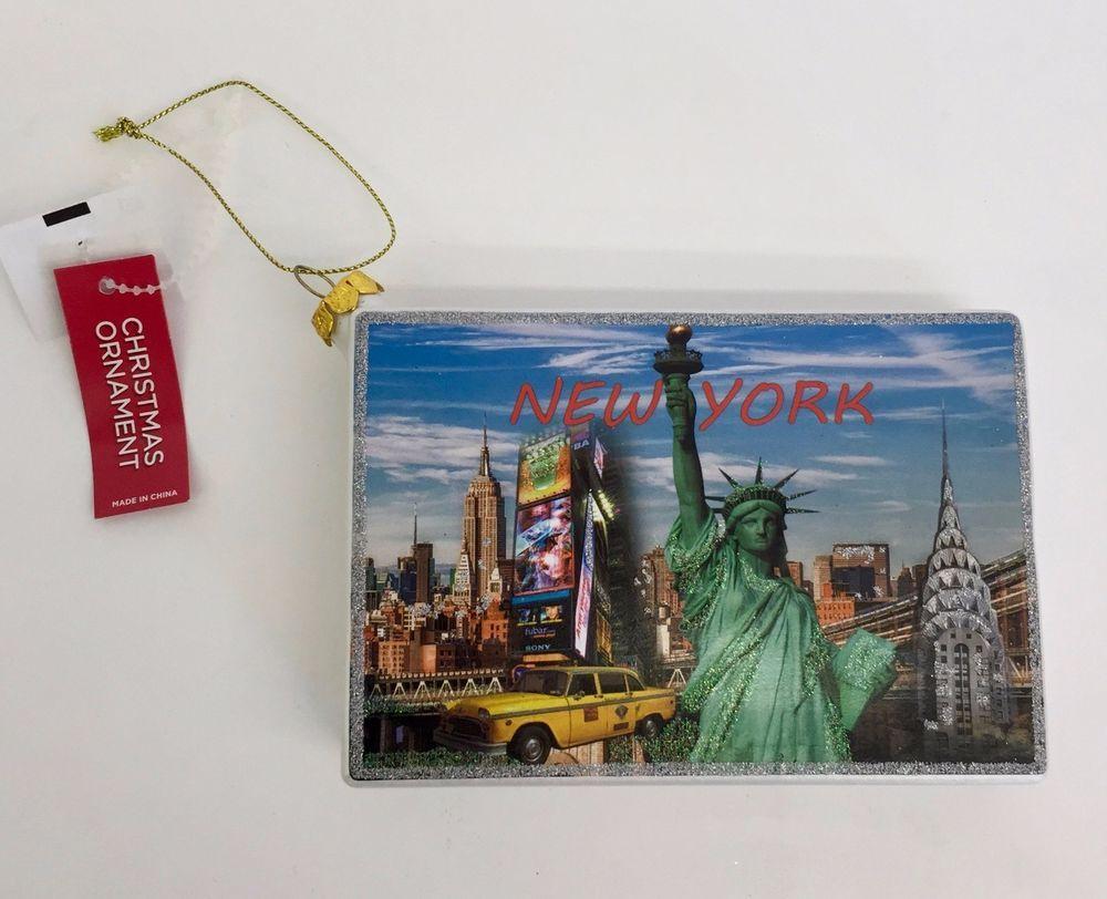 New York Postcard Glass Christmas Ornament City Holiday Tree Decoration NEW