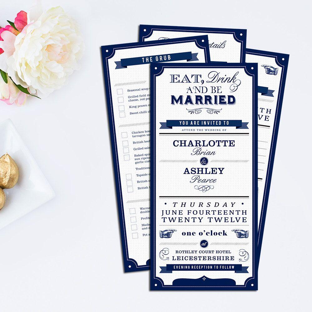Printable Vintage Wedding Invitations and RSVP, Wedding Stationary, Retro, Navy, Custom DIY, PERSONALISED by confettiandinkx on Etsy https://www.etsy.com/listing/102478050/printable-vintage-wedding-invitations