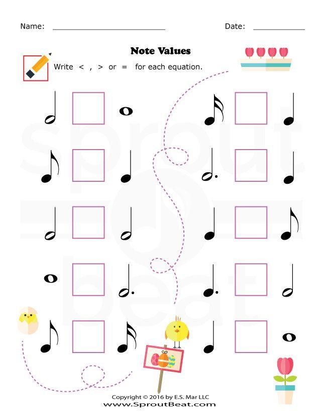 Music Worksheets – Easter – Note Value | Musicalização | Pinterest ...