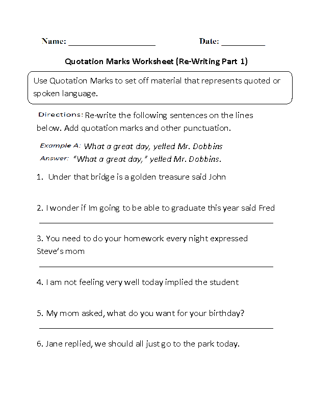 Re-Writing Quotation Marks Worksheet | Quotation marks ...