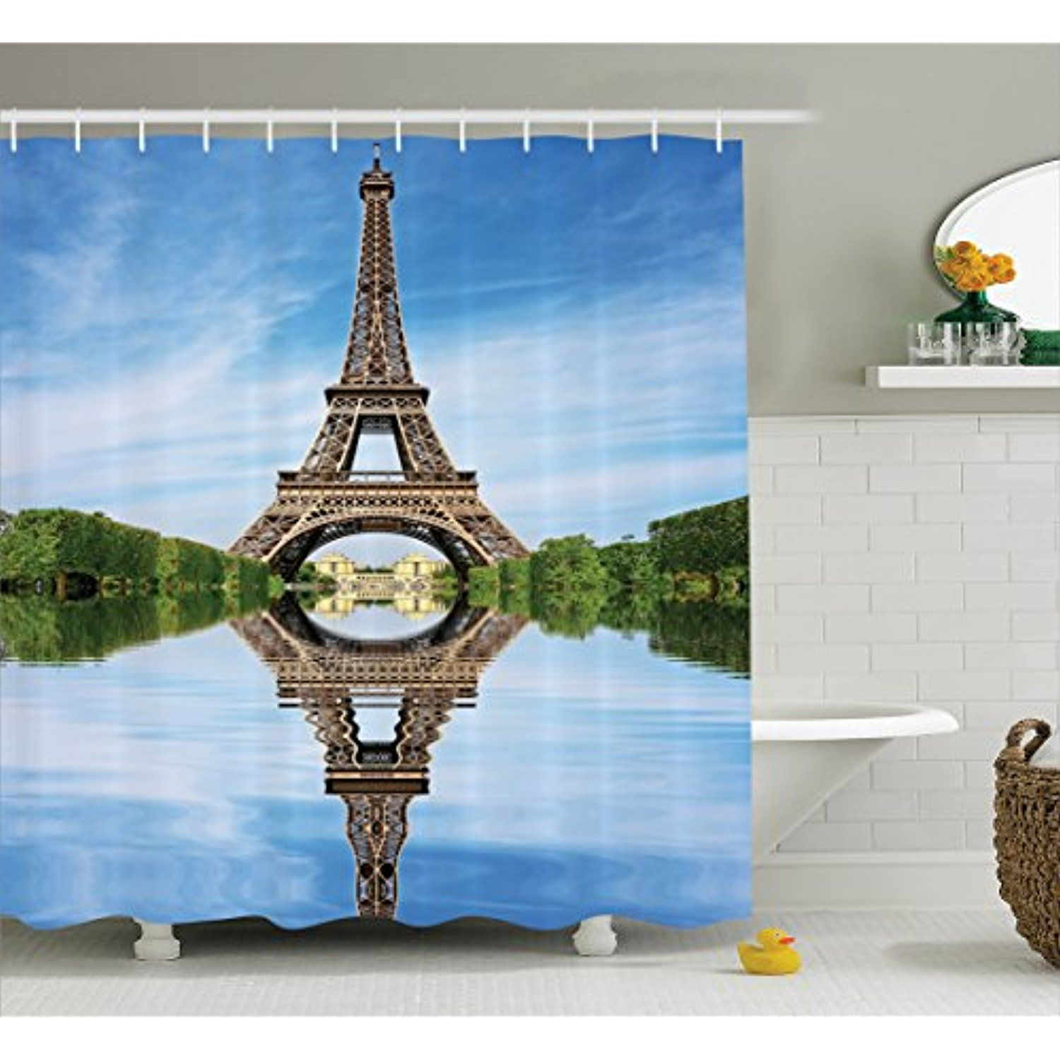 Eiffel Tower Shower Curtain by Lunarable, Reaching for Stars Eiffel ...