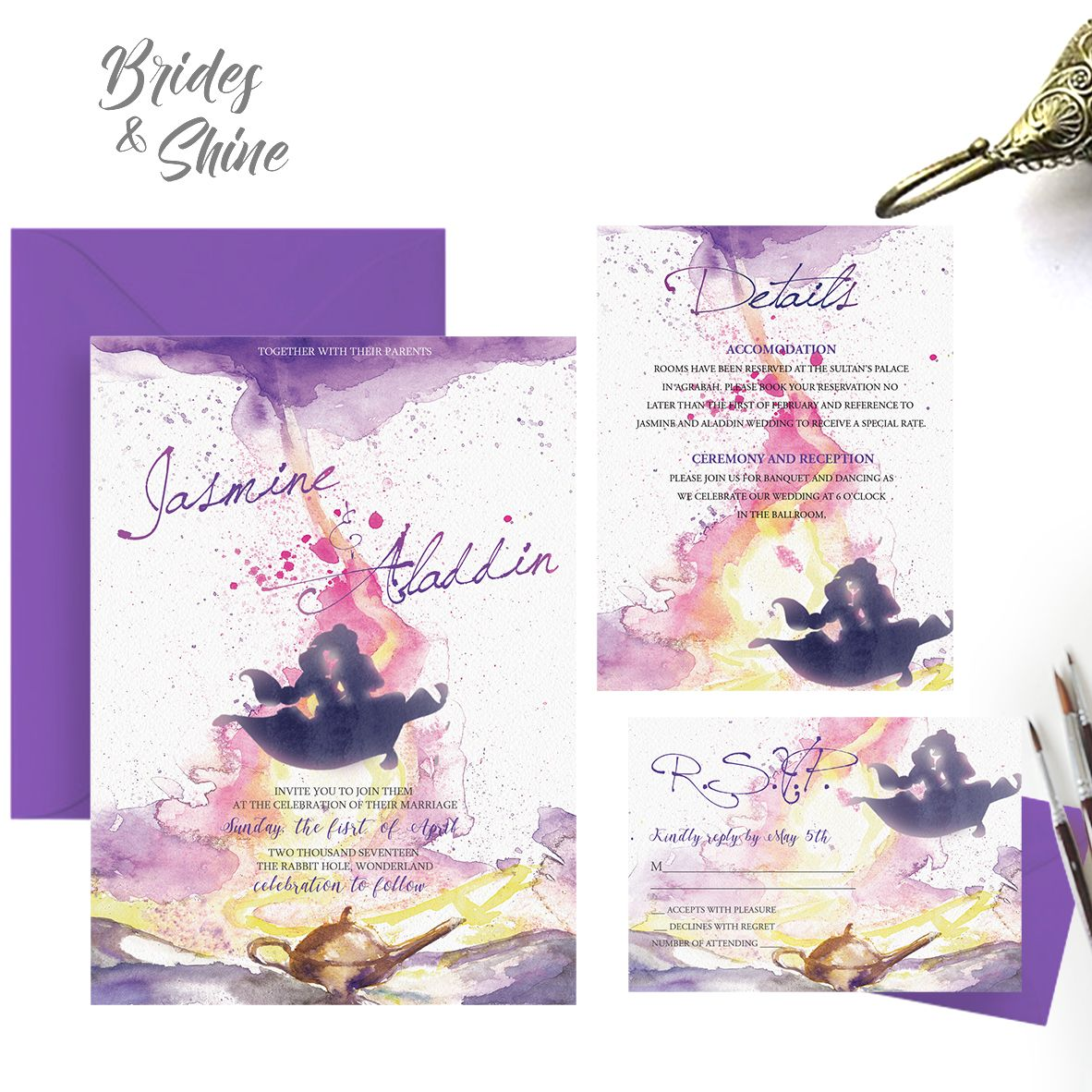 Aladdin And Jasmine Wedding Invitation Printable Disney Themed Card