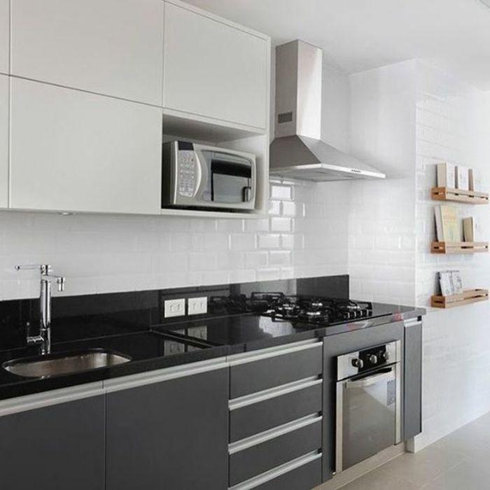 Cocina Blanca Y Negra | Cocinas Blancas Horno Integrado Balsa Negra Microonda Cocina