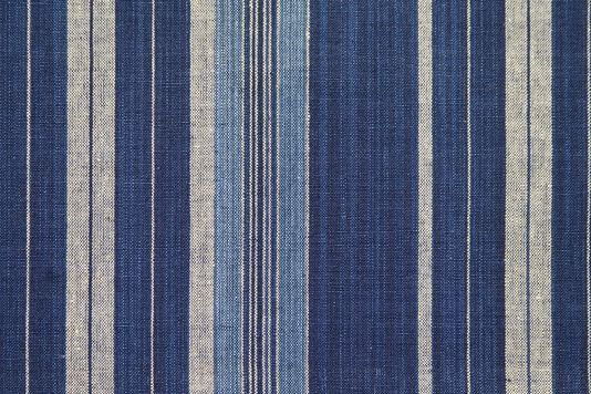 St Mawes Lovely Striped Linen Fabric In Rich Denim Blue With