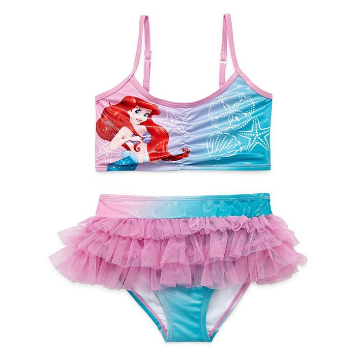 Disney Store Princess The Little Mermaid Ariel 2 PC Swimsuit Girl Size 4 7//8