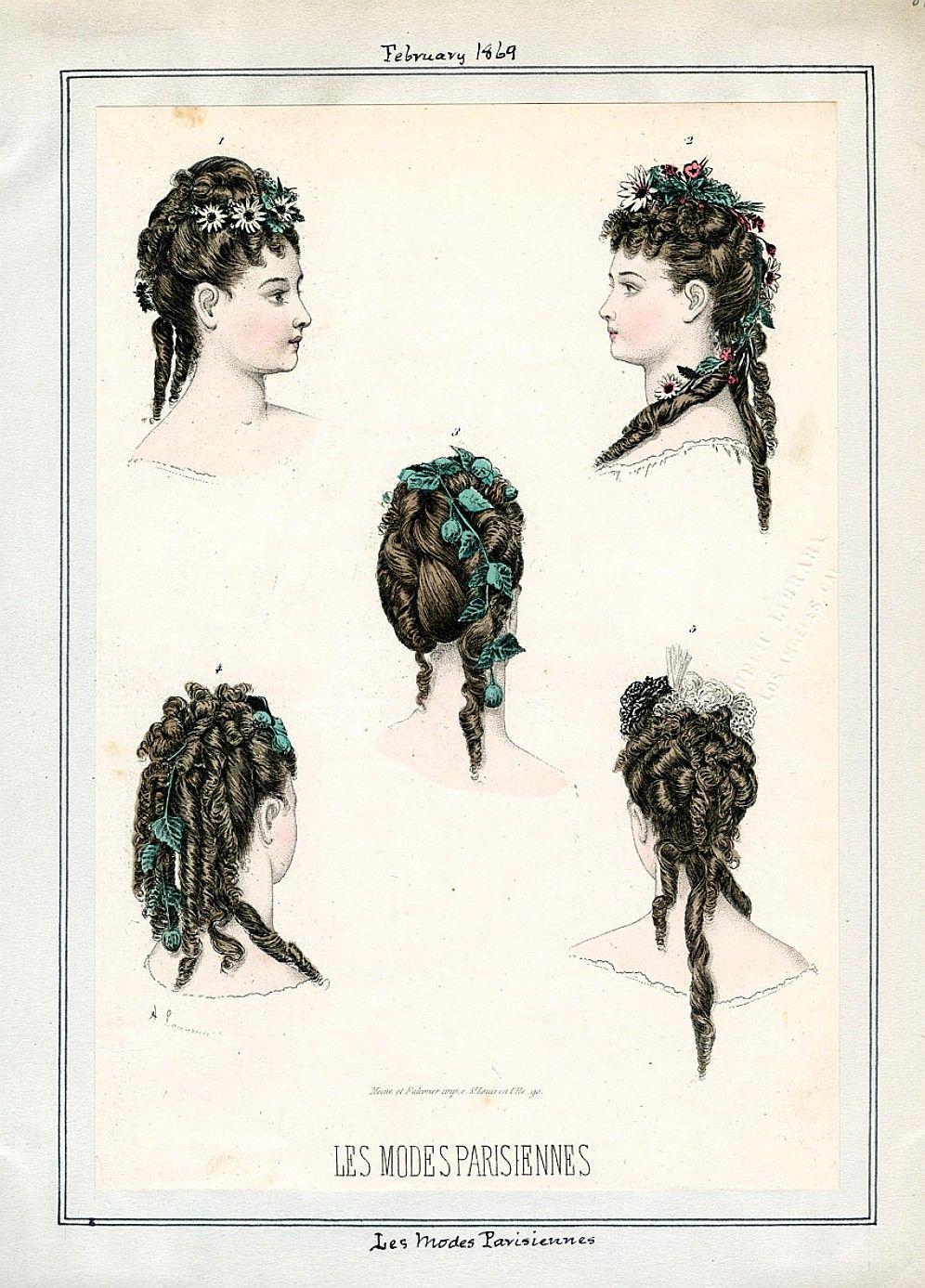 Fashion Plate Les Modes Parisiennes 1869 La Moda Del Siglo Xix Dibujos Peinados