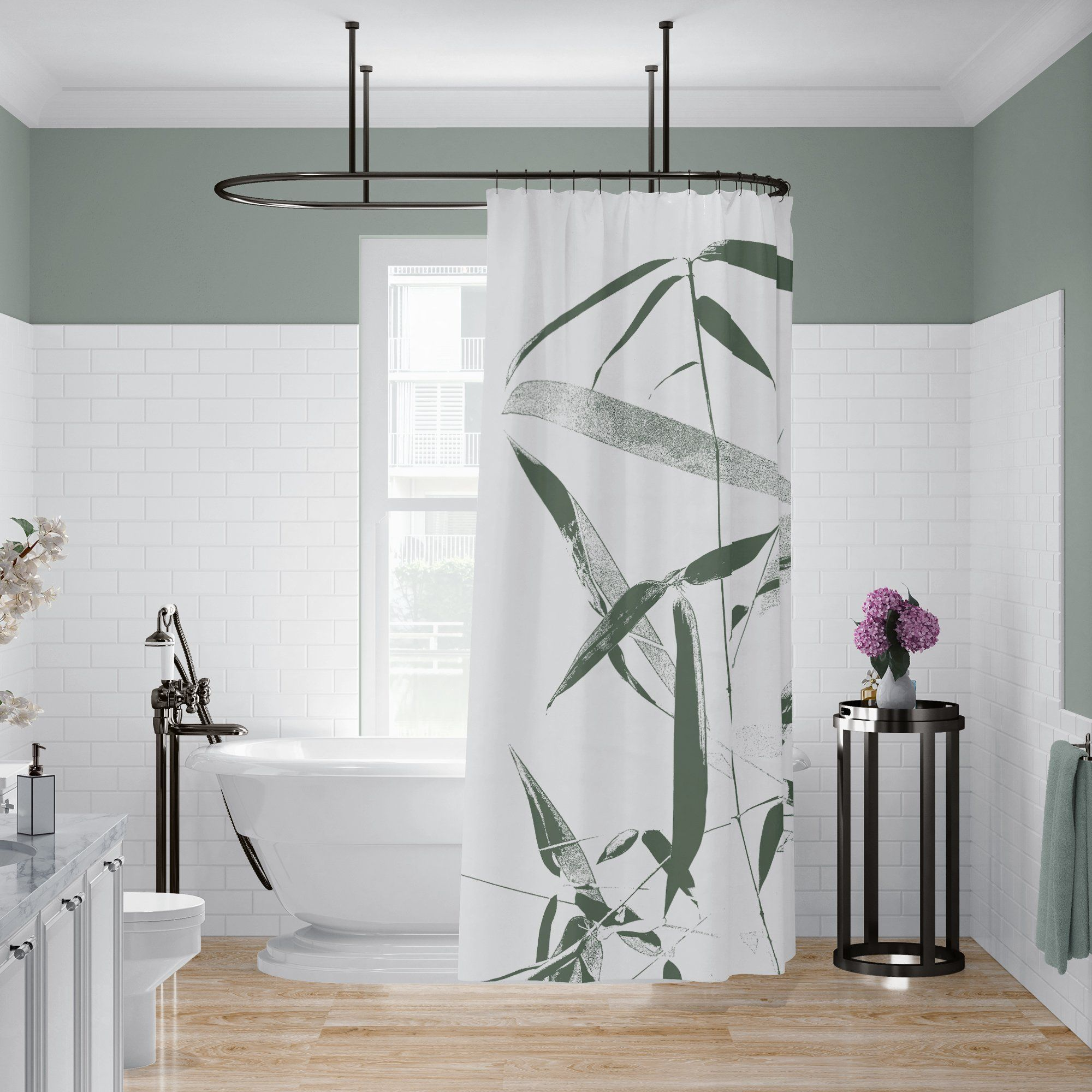 Green And White Bamboo Shower Curtain For Zen Bathroom In 2020