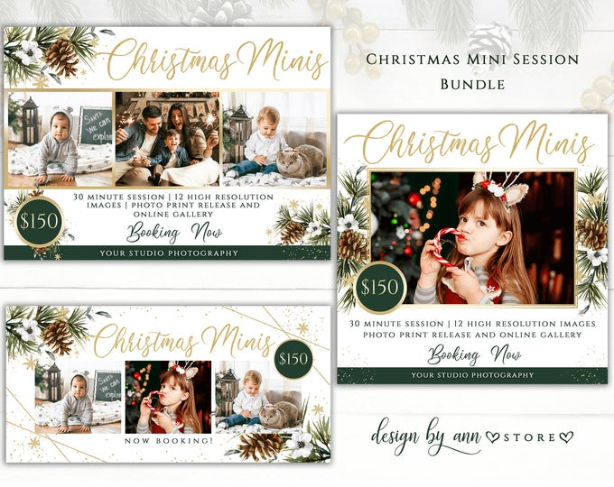 Templates For Professional Photographers By Designbyannstore Christmas Mini Sessions Christmas Card Template Mini Photo