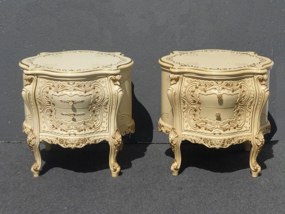 pair french louis xv nightstands rococo baroque signed end tables italian style
