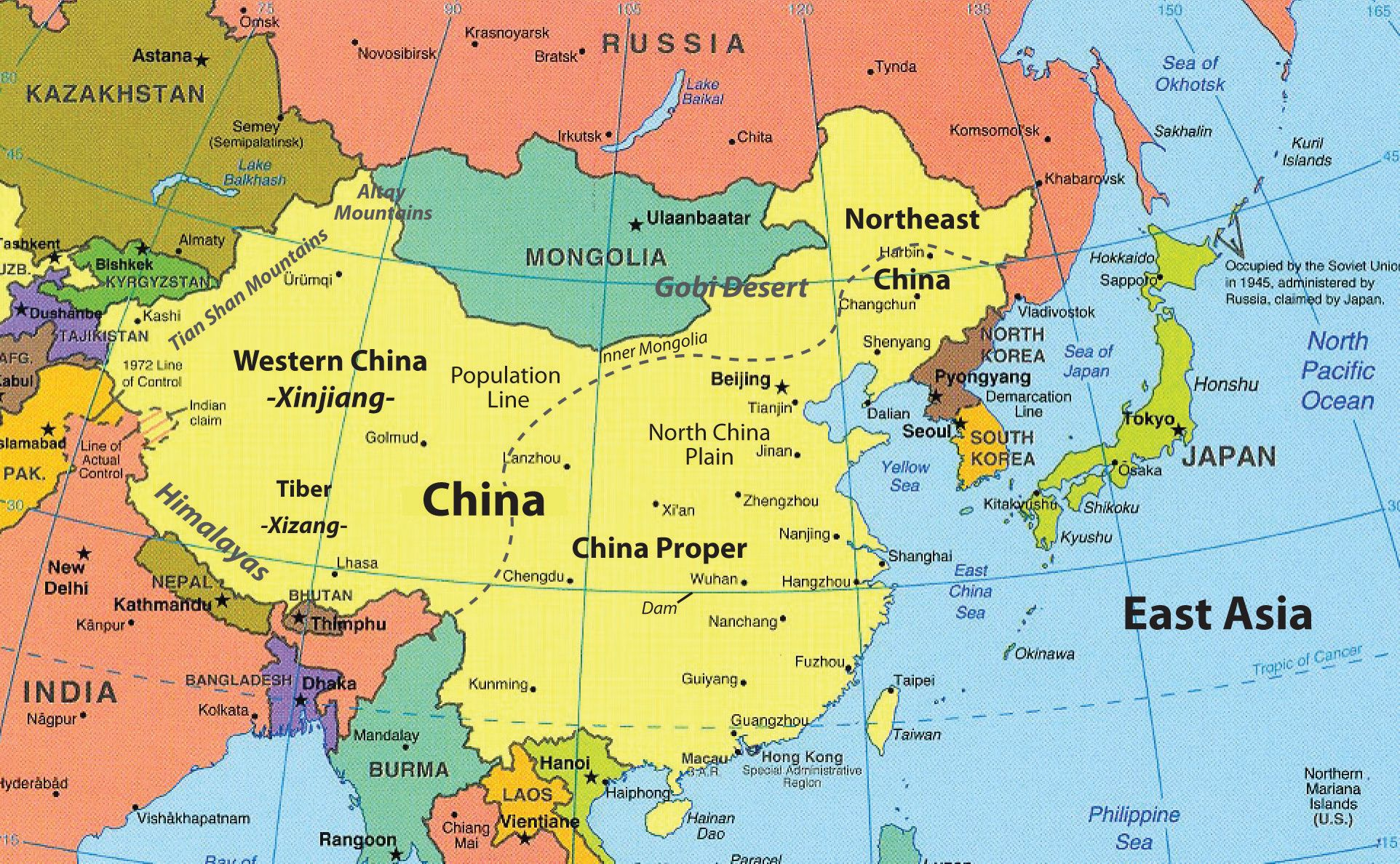 Map of East Asia. The countries are. China, Russia, Japan, North