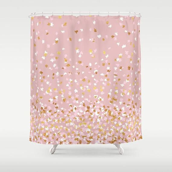 Shower Curtain Floating Confetti Dots Pink Blush White Gold