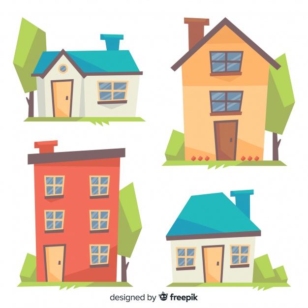 colorful housing collection with cartoon style styles house vector bär vektorgrafik ist svg eine vektordatei