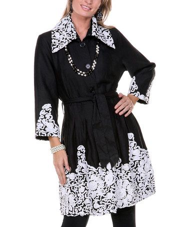 Another great find on #zulily! Black & White Embroidered Linen Jacket #zulilyfinds
