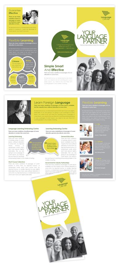 Language Learning Centre Tri Fold Brochure Template Design