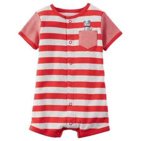 dc3763dda Carters Baby Clothing Outfit Boys Snap-Up Cotton Romper Dog Stripe Red -  Walmart.com