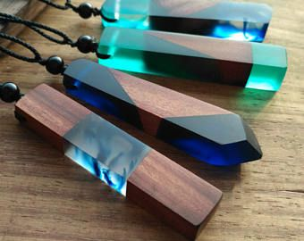 Resin Wood Necklace Blue Drop Pendant Landscape Necklace