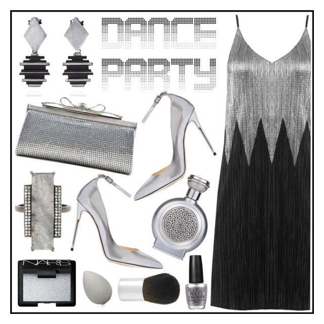 """""""get on the dance floor"""" by chloe-86 ❤ liked on Polyvore featuring Jimmy Choo, Judith Leiber, NARS Cosmetics, ADORNIA, Boadicea the Victorious, OPI, beautyblender, Borghese, dance and stylish"""