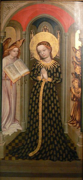 The Virgin in a dress decorated with ears; Bamberg c. 1430; from the Chapel of St Mary in the Judengasse at Bamberg  File:Maria im Ährenkleid.jpg