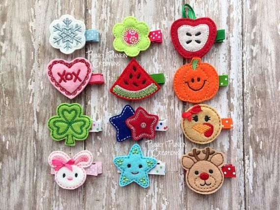 Items similar to Girl Hair Accessories, Hair Clip of the Month, Twelve Months of Clips, Holiday Hair Clips, Embroidered Clippies for Baby, Toddler or Girl on Etsy