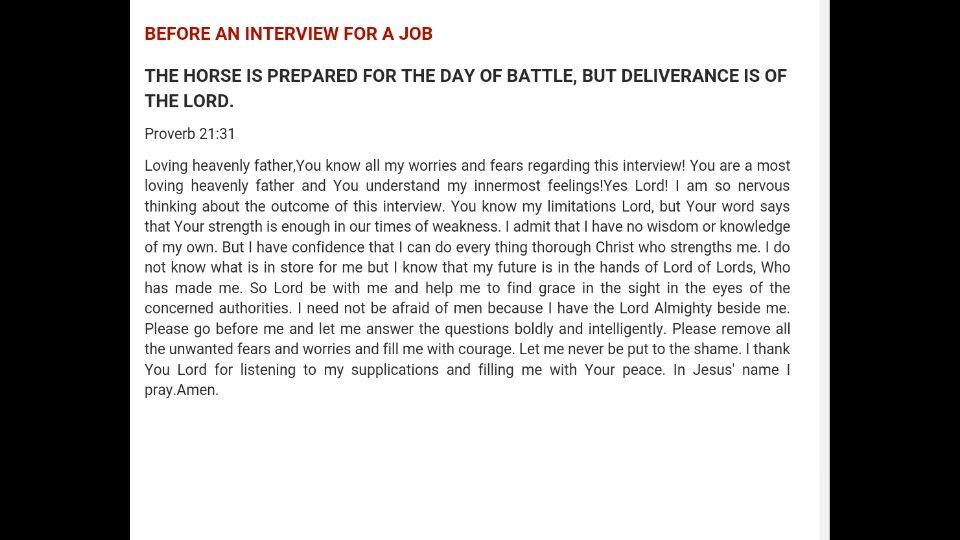 Before a job interview prayer Prayer for job interview