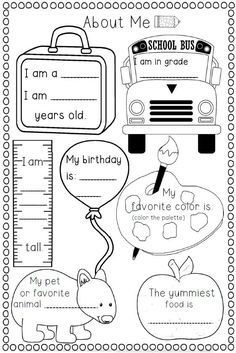 Image result for 1st grade all about me worksheet | Teaching at home ...