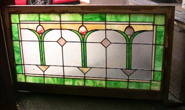 1920's Chicago Bungalow Stained Glass Transom Window