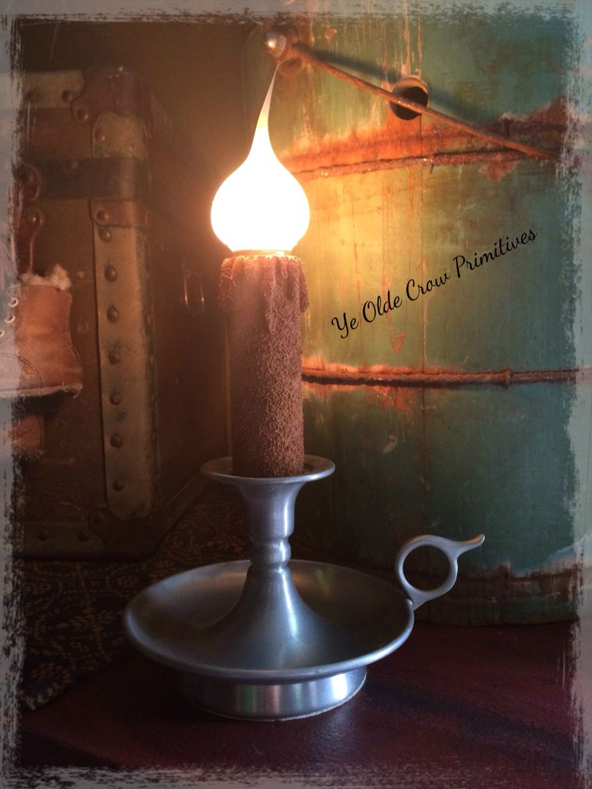 Vintage pewter lamp I picked up and give a primitive feel too. By Ye Olde Crow Primitives