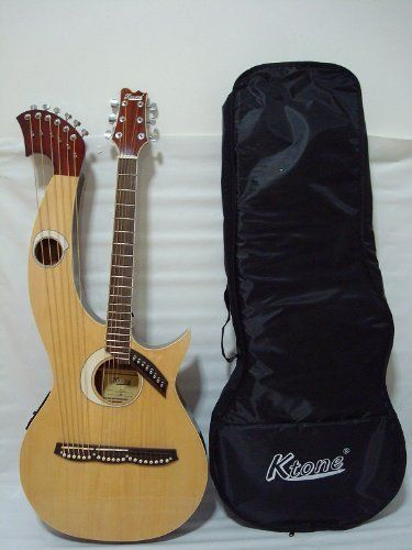 Ktone Harp Guitar Acoustic Electric Double Neck Guitar With Padded Gig Bag Check Out The Image By Visiting The Li Acoustic Electric Guitar Beautiful Guitars