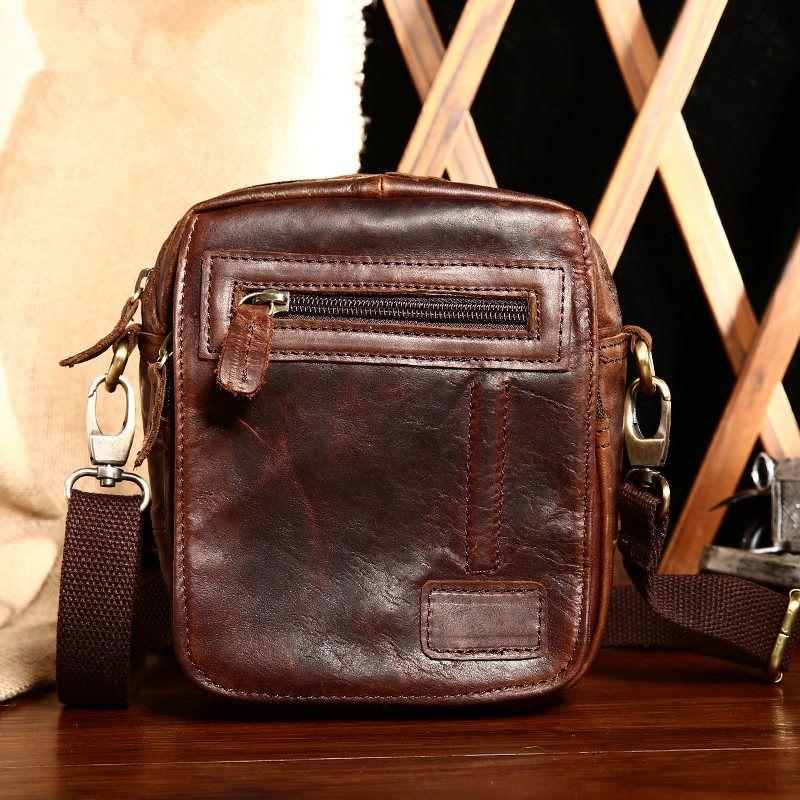 Men Over Shoulder Crossbody Side Bag Small crazy horse Soft Leather  Shoulder Bag Messenger Bag zipper