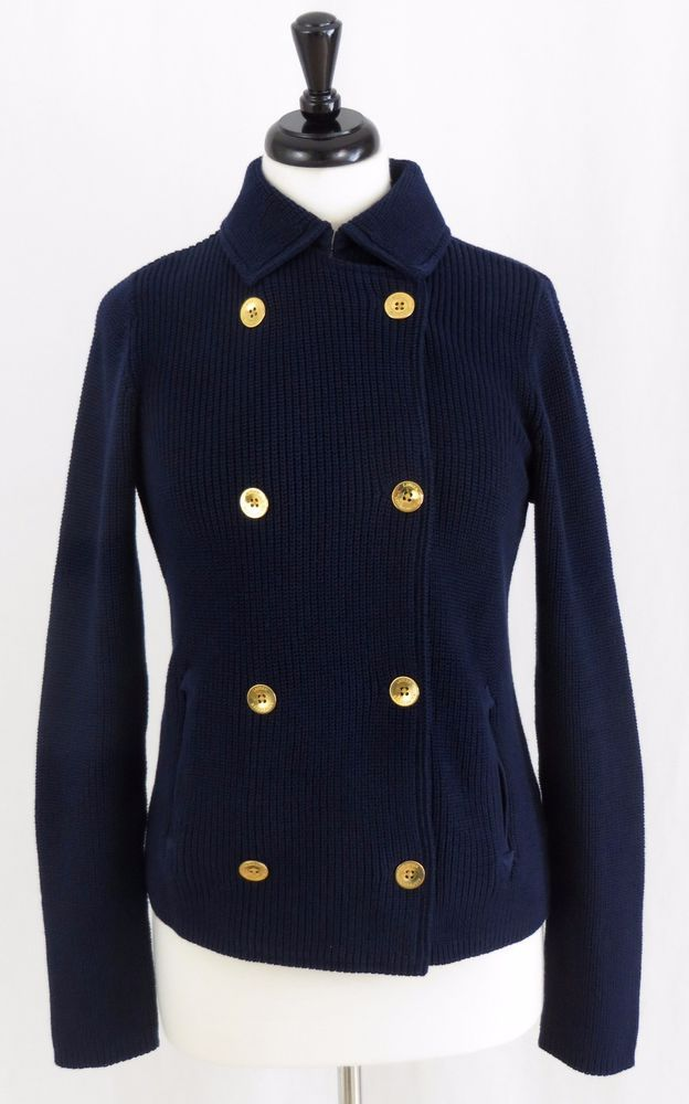 Ralph Lauren Navy Cardigan Double Breasted Gold Buttons Cotton S ...