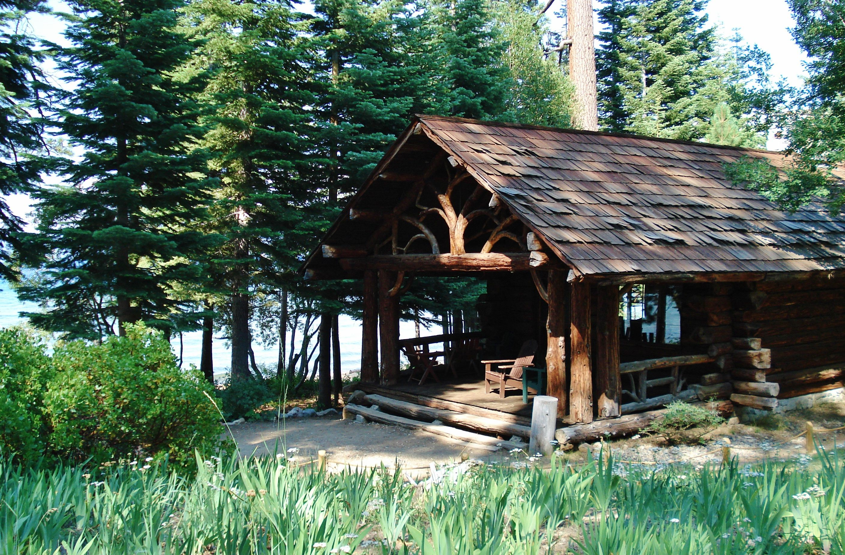 with nw vacation off front comfy chipmunk in firepit cabins cabin of porch propane covered lodge exterior tahoe the rentals