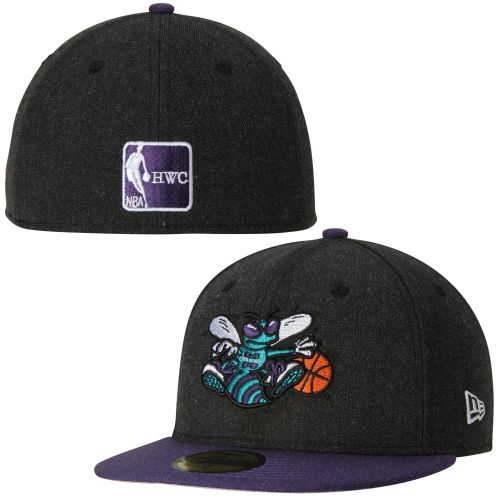 Charlotte Hornets New Era Heather Action 59FIFTY Fitted Hat - Black ... a0bc22bb251