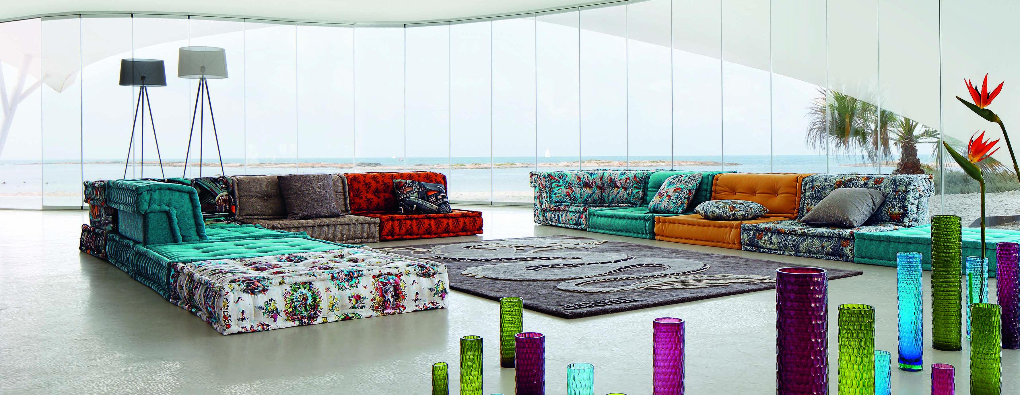 Roche Bobois Dragon Mah Jong Modular Sofa Upholstered In Jean