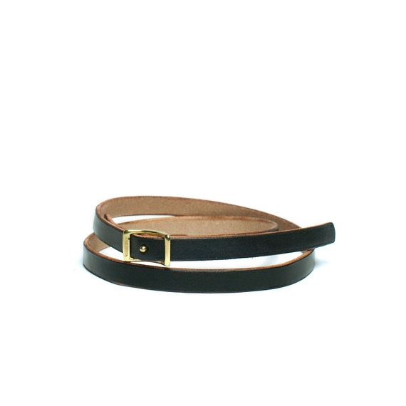 Black Conway Women's Skinny Leather Belt Sizes by pigandpotato