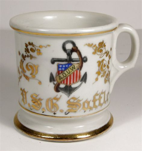 1910 S Fraternal Organization Aouw Patriotic Decorated Shaving Mug Barber Shop Ebay Mugs Barber Shop Shaving