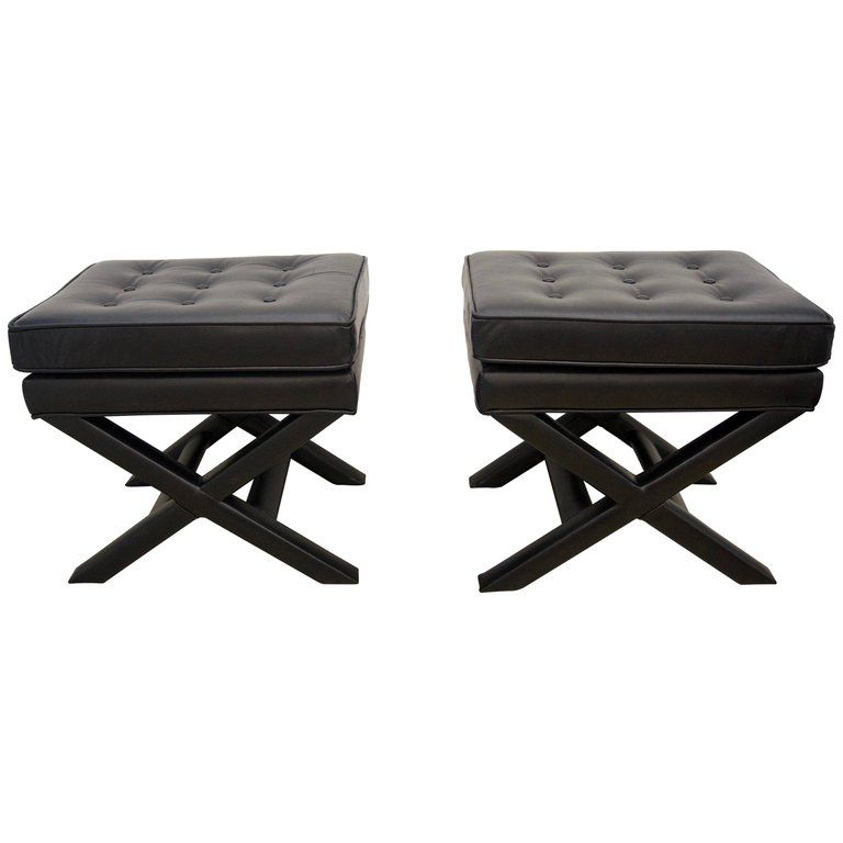 Super Pair Of 1Stdibs Leather Modern American Benches Products Machost Co Dining Chair Design Ideas Machostcouk