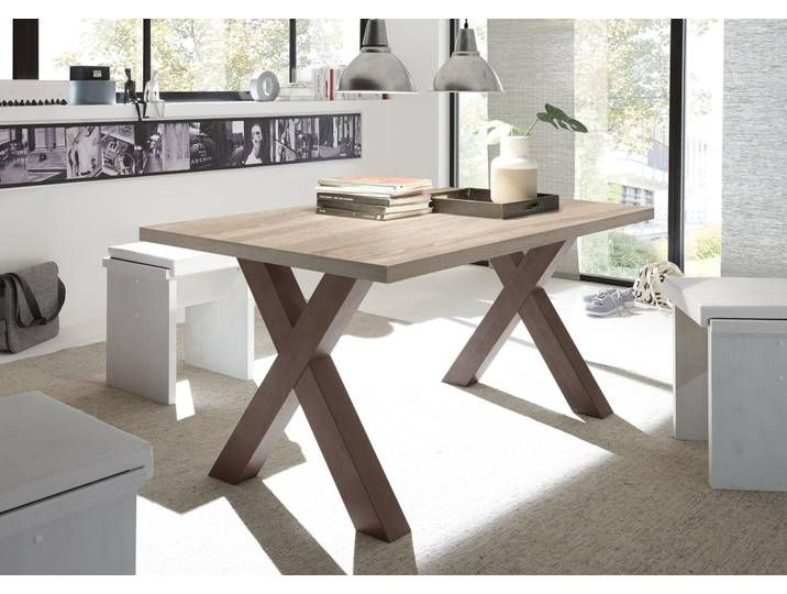 Esstisch Mister Gestell In X Form Neckermann Braun 140 Cm X 75 C Home Interior Design Dining Table Office Desk