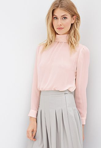 4c3c7a4a77c988 High-Neck Sheer Blouse | LOVE21 - 2000120135 | Classy Shirts in 2019 ...