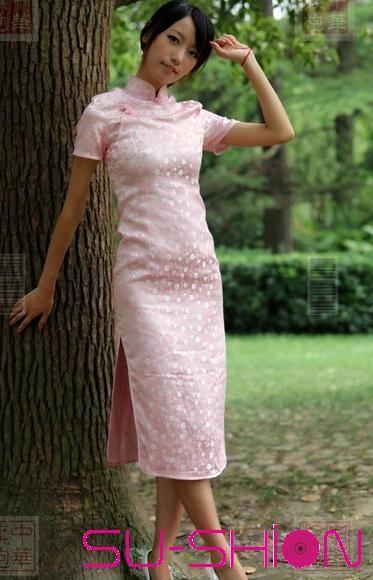 Pink brocade short sleeves qipao_Traditional qipao_Oriental - küchen bei obi