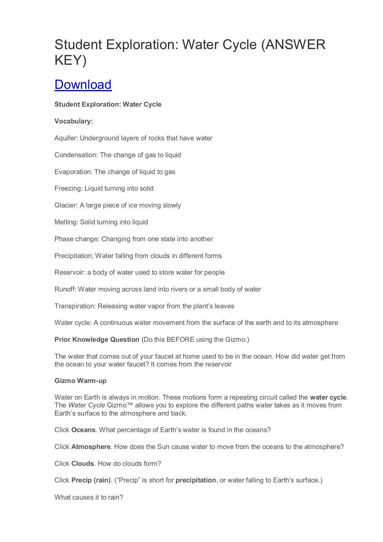 Water Cycle Worksheet Student Exploration Water Cycle