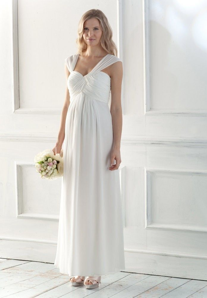 0de3b76dec461 Chiffon Sweetheart Empire A-Line Long Maternity Wedding Dress - Bride -  WHITEAZALEA.com