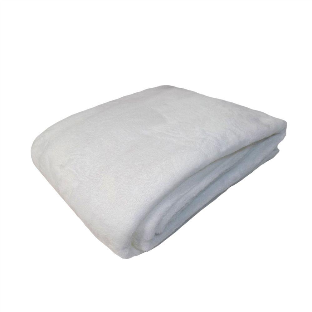 Plain cream machine washable fleece throw blanket cm x cm