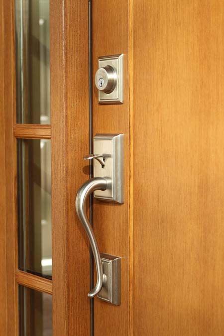 Brushed Nickel Handle Set On Clopay Craftsman Collection Fiberglass Front  Door. Www.clopaydoor.