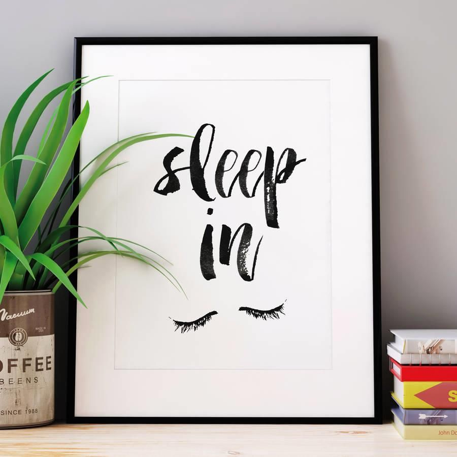 Sleep In http://www.amazon.com/dp/B016FEYBCC word art print poster black white motivational quote inspirational words of wisdom motivationmonday Scandinavian fashionista fitness inspiration motivation typography home decor
