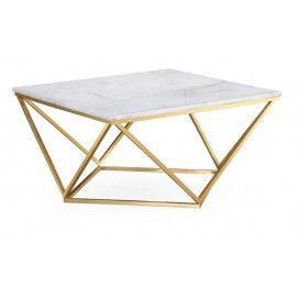 79087ec1d1c39 Square White Marble Geometric Golden Base Coffee Table
