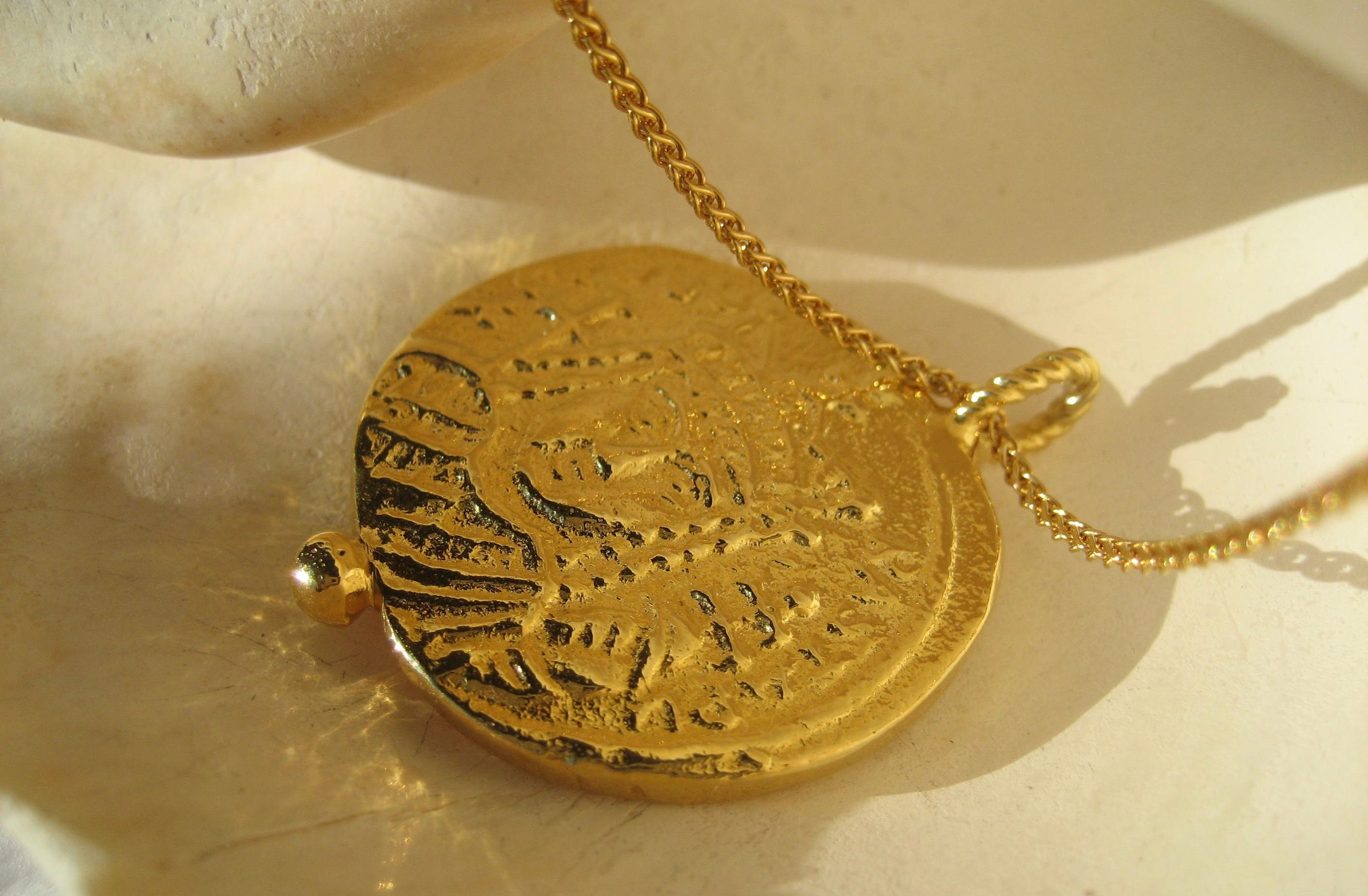 Temple of Dea Roma Necklace 24K Gold Plated Necklace Gold Coin