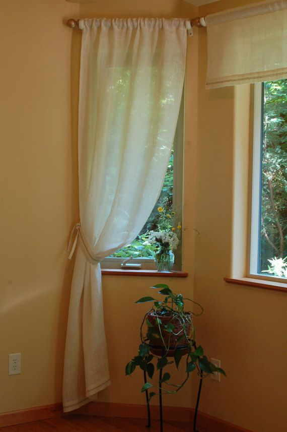 40 Inches Wide White Burlap Window Curtain Panel With Hand